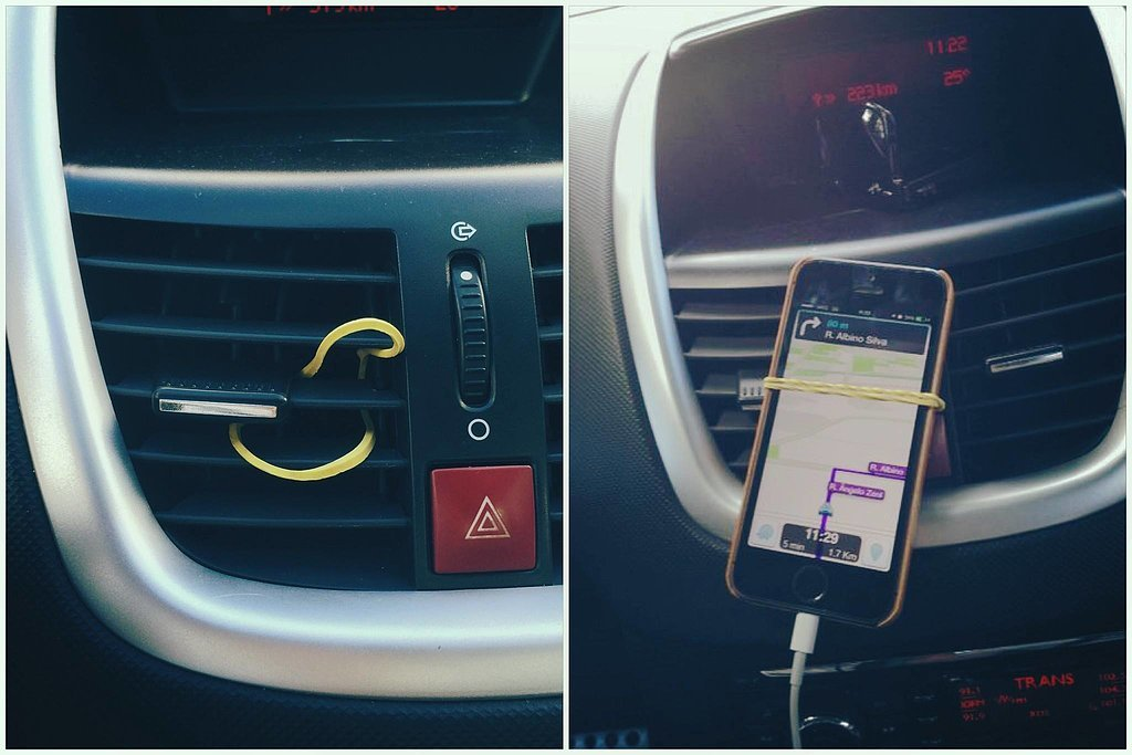 Rubber Band as a Phone Holder
