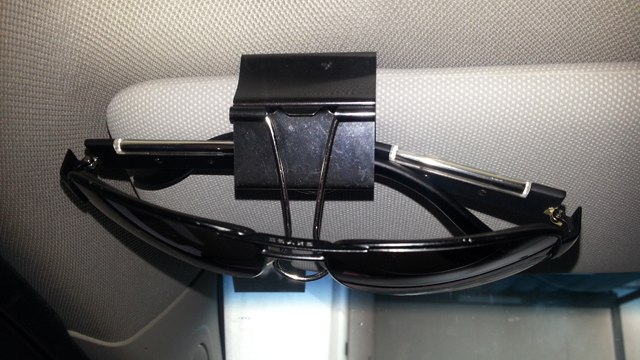 Hang Your Sunglasses on Your Visor with a Binder Clip